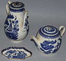 A WORCESTER FISHERMAN PATTERN BLUE AND WHITE COFFE