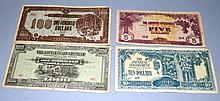 FOUR JAPANESE OCCUPATION BANK NOTES.