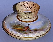 A ROYAL WORCESTER VASE with reticulated neck paint