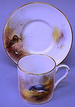A 19TH CENTURY ROYAL WORCESTER COFFEE CAN AND SAUC