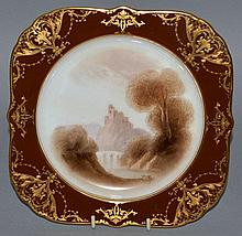 A 19TH CENTURY ROYAL WORCESTER SQUARE LOBED PLATE