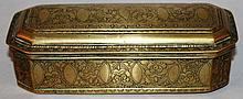 AN 18TH CENTURY BRASS TOBACCO BOX with engraved de