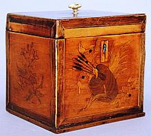 A GEORGE III SQUARE INLAID SATINWOOD TEA CADDY. 4.