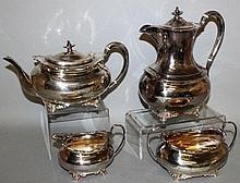 AN EDWARD VII FOUR PIECE SILVER TEA SET, comprisin