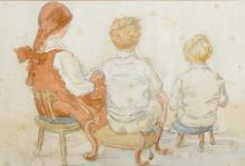Circle of Edward Van Goethem (1857-1924) British. Seated Children in an Interior, Watercolour and Pencil, 7