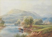 19th Century English School. A Mountainous River Landscape, with Cattle in the foreground, Watercolour, Signed with Monogram 'AG', and Dated 1887, 9.5