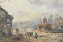Harry Ward (1844-1873) British. 'Groby, Leicestershire', with Figures and Horses, Watercolour, Signed and Dated 186., and Inscribed on a label on the reverse, 6.5