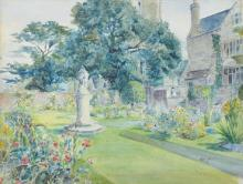 Cecil Wilson (19th - 20th Century) British. A Stone Urn, in a Country Garden, Watercolour, Signed and Dated 1902, 11.5