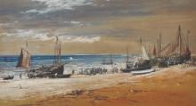 Joseph Nash (1808-1878) British. Beached Fishing Boats, with Figures on a Beach, Watercolour, Signed and Dated 1854, 7.25