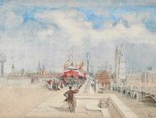 Johann Nepomuk Passini (1798-1874) Austrian. 'The Opening of London Bridge, 1st August 1831', Watercolour, Signed, 9.75