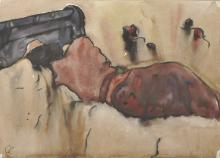 G... C... (20th Century) British. A Sleeping Figure in a Bed, Watercolour, Signed with Initials 'GC', 10