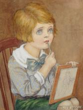 Olive Wood (19th - 20th Century) British. A Young Girl Seated, with a Drawing Board, Watercolour, Signed, 4.75