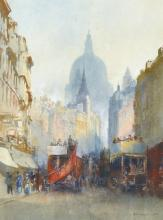 Richard Henry Wright (1857-1930) British. ''St Paul's from Fleet Street', Watercolour, Signed and Dated 1926, 9.25