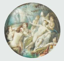 19th Century French School. A Harem of Naked Ladies, Watercolour on Ivory, Circular, 4.75