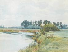William Frazer Garden (1856-1921) British. 'The Distant Church Spire of All Saints Church, St Ives, from the River Ouse', Watercolour, Signed with Initials and Dated '98, 4.5