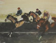 John Rattenbury Skeaping (1901-1980) British. A Racing Scene, with Horses Taking a Fence, Watercolour, Signed and Dated '64, 22