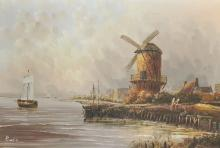 Baillie (20th Century) Continental. A River Landscape, with Figures by a Windmill, Oil on Canvas, Signed, 24