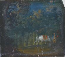 Circle of James Seymour (c.1702-1752) British. A Woodland Scene, with a Man and Horses, Oil on Copper, Unframed, 5.5
