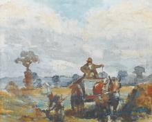 Circle of Frederick William Jackson (1859-1918) British. A Horse and Cart with Figures in a Landscape, Oil on Canvas laid down, 11.5