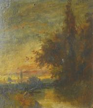 19th Century English School. 'Essex Evening', Oil on Board, Inscribed on the reverse, 4.5