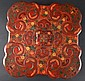 AN 18TH CENTURY CHINESE RED LACQUER SHAPED BOX AND