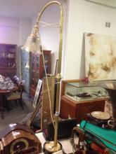 BRASS STANDARD LAMP & SHADE