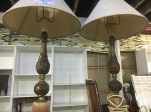 PAIR METAL & ALABASTER TABLE LAMPS
