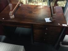 STAINED TIMBER OFFICE DESK