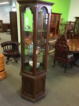 OCTAGONAL GLASS DISPLAY CABINET WITH LOWER TIMBER CUPBOARDS