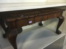 SMALL TIMBER & LEATHER TOP TABLE