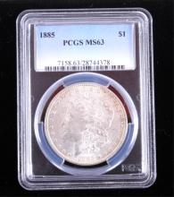 1885-P Morgan Silver Dollar PCGS MS63 This coins w
