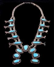 Navajo Sleeping Beauty Turquoise Squash Blossom Th