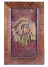Antique Leather Advertising Indian Chief The piece