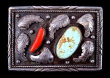 Navajo Turquoise Coral & Silver Belt Buckle This p