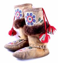 Northwest Coast Indians Beaded Boots The lot featu