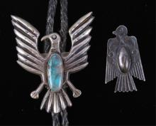 Navajo Thunderbird Sterling Bolo & Pin The lot fea