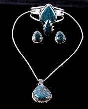 Navajo Lander Blue & Silver Jewelry Collection Thi