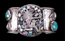 Old Pawn Navajo Silver & Chrysocolla Bracelet The