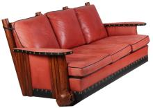 New West Red Leather & Burl Foot Log Couch