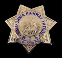 California Highway Patrol Psychologist Chief Badge
