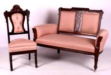 Antique Eastlake Upholstered Settee and Chair