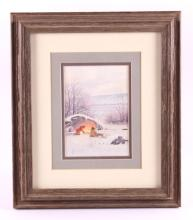 Dustin Lyon Framed Original Watercolor Painting