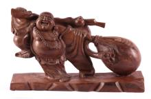 Carved Wooden Laughing Buddha