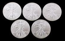 2014 Silver Liberty Eagle 1 Ounce Coins (5)