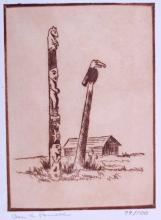 Totem Pole Original Etching by Ace Powell Signed