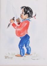 Hair-Cut by Nancy McLaughlin Powell Original Art