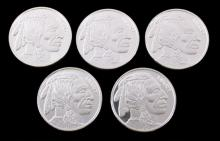 Indian Head Buffalo 1 Ounce .999 Silver Coins (5)