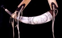 Antique Scrimshaw Powder Horn