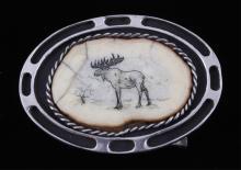 Sterling Silver & Scrimshaw Moose Belt Buckle