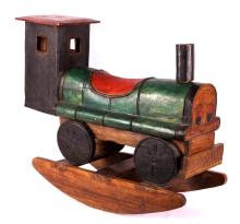 Antique Hand Carved Wooden Rocking Train